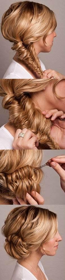 fishtail bun wedding hair tutorial once wed