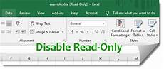 how to disable read only in excel 2016