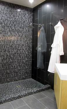 Modern Slate And Glass Tile Shower Inspiration Bathroom