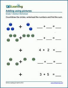 1st grade math worksheet adding printables of addition problems for 1st graders