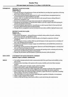 district sales manager resume sles velvet