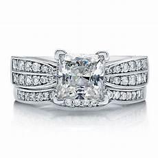 princess cubic zirconia sterling silver 2 pc bridal ring