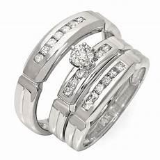 luxurious trio marriage rings half carat cut diamond
