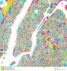 new york city manhattan colorful map stock vector