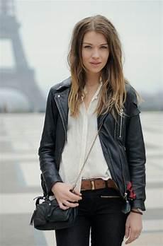 S Black Leather Biker Jacket White Chiffon Dress