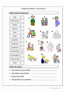 worksheets for elementary students 18860 vocabulary matching worksheet elementary 2 2 family esl worksheets for distance