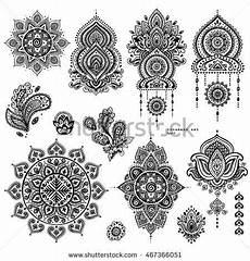 Mandala Klein - indian floral set ethnic mandala ornament vector henna