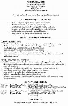 this is a sle resume for a waiter who has been in his line of work for over 10 years he uses