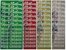 metallic merry christmas peel off stickers gold silver green card making ebay