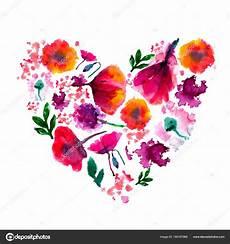 Malvorlage Herz Mit Blumen Aquarell Blume Herz Gemalt Gemalten Herzen Aquarell Herz