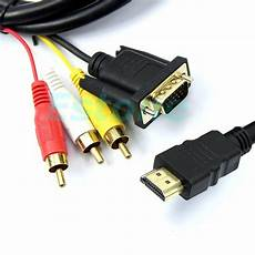 Converter Adapter Cable by 1pc New 5feet 1 5m Gold Hdmi To Vga 3 Rca Converter