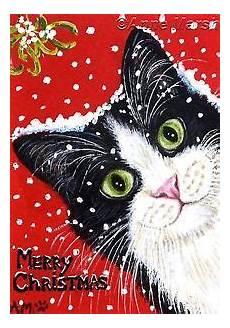 aceo tuxedo cat merry christmas ltd edition print fantasy painting marsh christmas cats