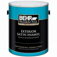 behr premium plus 1 gal ultra pure white satin enamel exterior paint and primer in one 905001