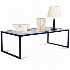 costway rectangular coffee table tempered glass top metal