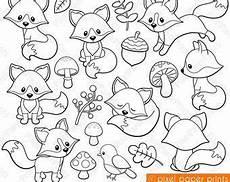 Xenia Malvorlagen Woodland Animals Digital Sts Clipart