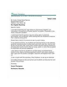 english teacher cover letter sle