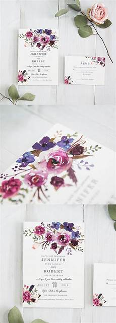 pink and purple shades watercolor wedding
