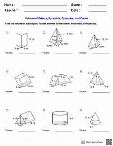 prisms pyramids cylinders cones volume worksheets