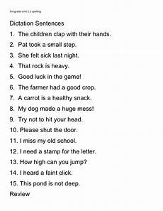 3rd grade unit 1 1 spelling dictation sentences 1 the children clap with their 2 pat