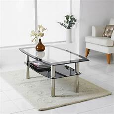 modern black clear glass chrome living room coffee table with lower shelf ebay