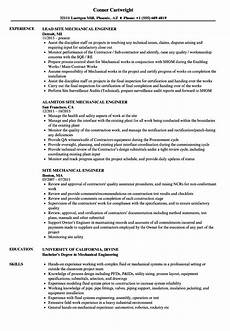 resume format mechanical site enginer mechanical site engineer resume sles velvet