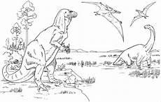 Ausmalbilder Dinosaurier T Rex T Rex Mit Flugsauriern Ausmalbild Malvorlage Tiere