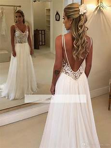 discount elegant a line beach wedding dresses 2019 lace applique v neck backless chiffon bridal