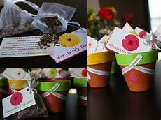 garden theme favors painted terracotta pots with flower