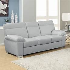 Alto Italian Inspired High Back Leather Light Grey Sofa
