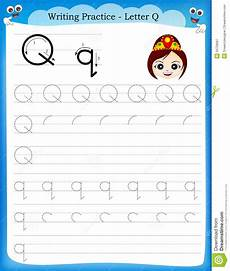 writing practice letter q stock vector illustration of