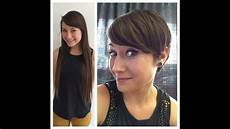 haircut on long hair brunette to a pixie hair cut anne hathaway style youtube
