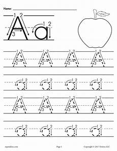 printable letter a tracing worksheet with number and arrow guides supplyme
