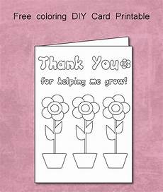 thank you card for teachers template free thank you for helping me grow coloring card