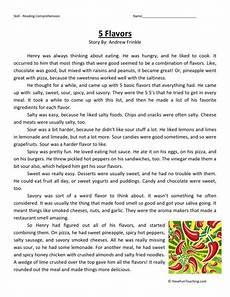 reading comprehension worksheet 5 flavors
