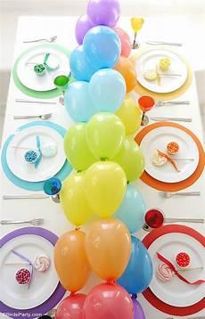 rainbow tablescape diy balloon garland ideas