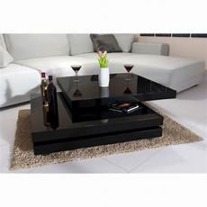 couchtisch drehbar couchtisch hochglanz schwarz 80x80 ebenen frei 360