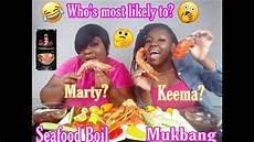 who s most likely to mother daughter edition seafood boil mukbang who s most likely to