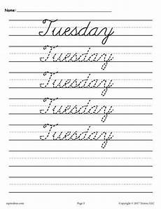 cursive handwriting worksheets days of the week 21350 free days of the week cursive handwriting worksheets these tracin cursive handwriting