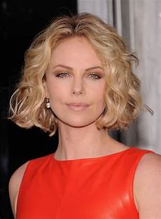 charlize theron short bob hairstyle with curls for summer styles weekly
