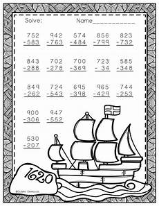 thanksgiving subtraction with regrouping worksheets 10720 free three digit subtraction with regrouping thanksgiving theme 3 nbt 2 second grade math
