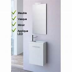 micro salle de bain 91444 ensemble lave mains meuble blanc vasque miroir led salgar micro 22516 comparer les prix