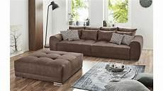 microfaser sofa big sofa moldau xxl couch in microfaser braun mit kissen