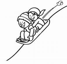 Malvorlagen Winter Einfach Kostenlose Malvorlage Winter Kinder Beim Schlittenfahren