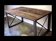 wood and metal dining table