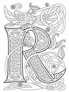 illuminated letter coloring page learning how to read