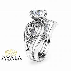 unique diamond engagement ring floral 14k white gold