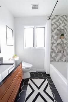 Modern Black And White Bathroom Bright Green Door