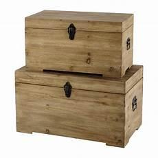 2 bauli in legno l 59 e 69 cm chalet maisons du monde