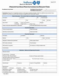 free anthem blue cross blue shield prior rx authorization form pdf eforms free