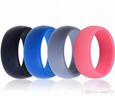 men silicone wedding ring band black grey blue rubber ring for sports enthusiast wholesale